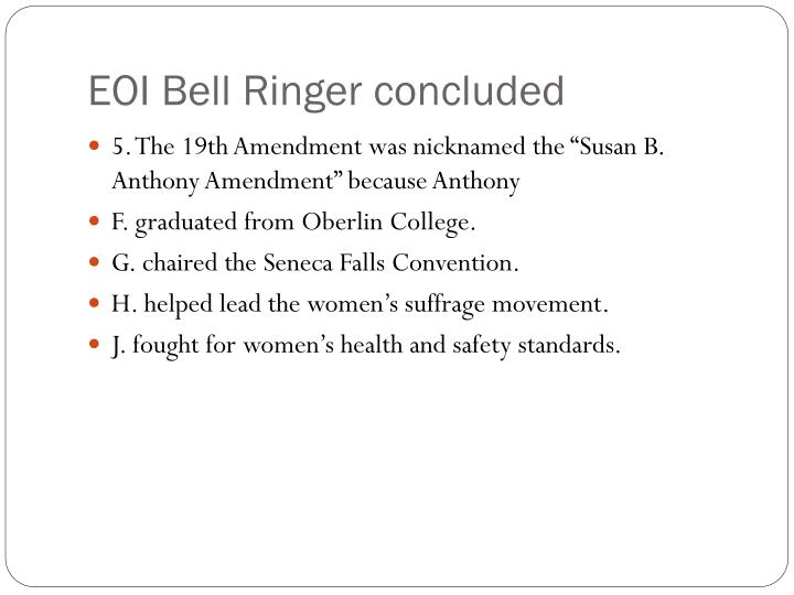 EOI Bell Ringer concluded