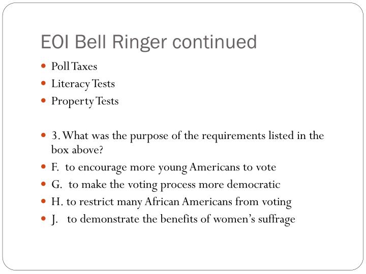 EOI Bell Ringer continued