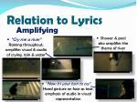 relation to lyrics