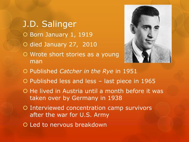 j d salinger research paper salinger v Literary essay love in the time of cholera research paper on love quiz related post of j d salinger biography essay.