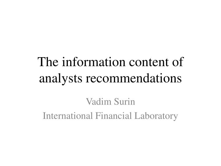 the information content of analysts recommendations n.