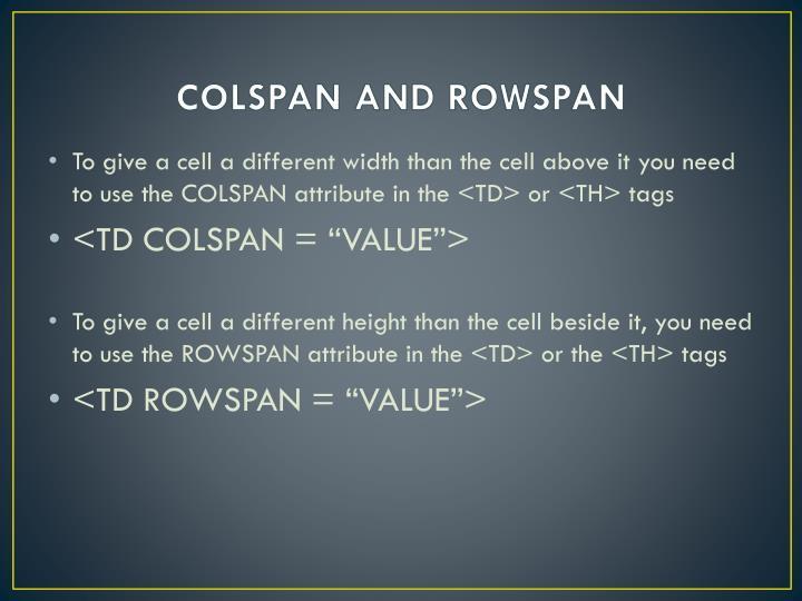 COLSPAN AND ROWSPAN