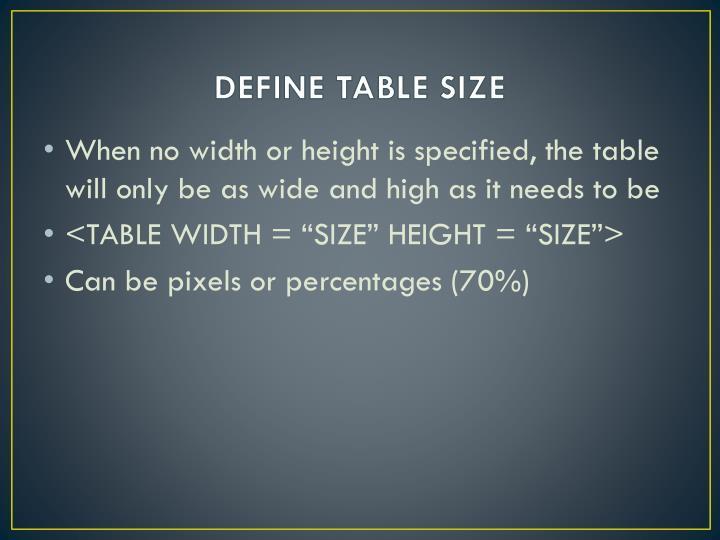 DEFINE TABLE SIZE