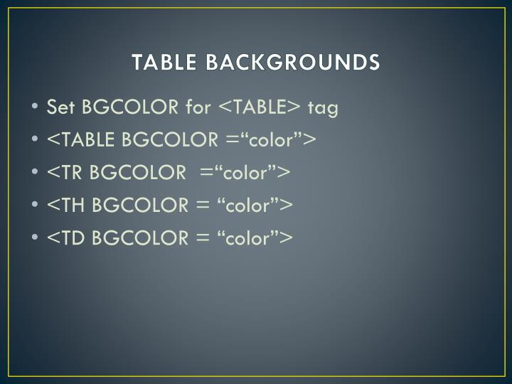 TABLE BACKGROUNDS