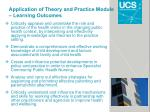 application of theory and practice module learning outcomes