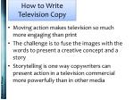 how to write television copy