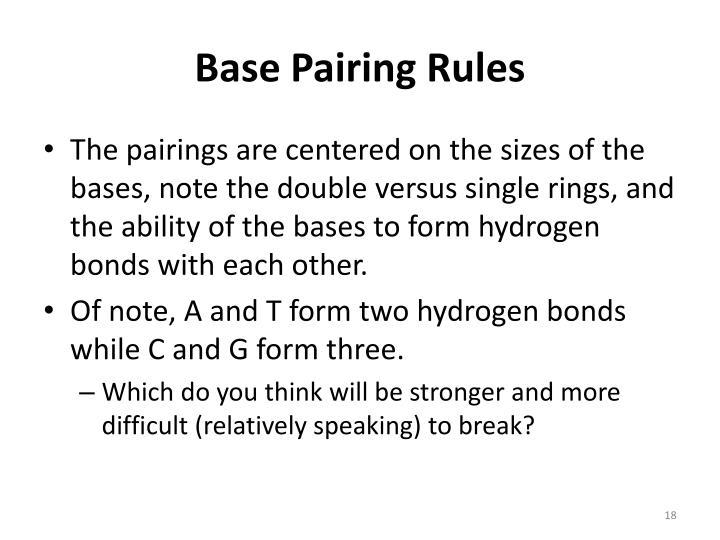 Base Pairing Rules