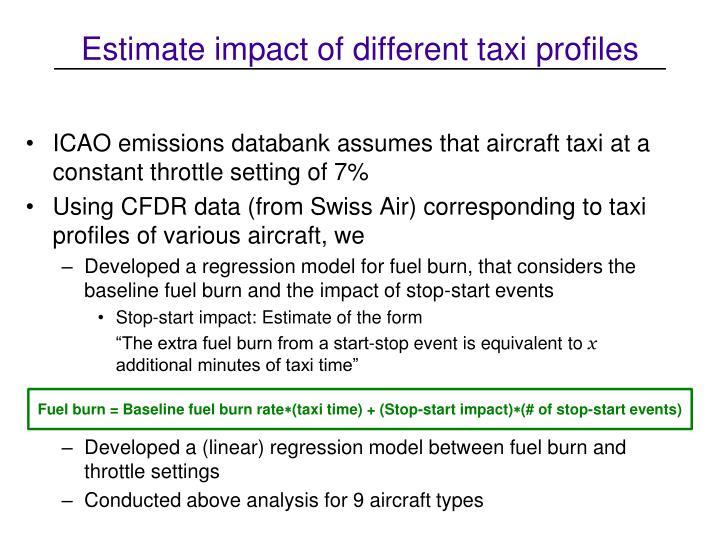 Estimate impact of different taxi profiles