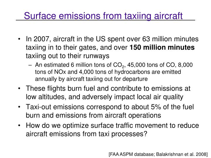 Surface emissions from taxiing aircraft