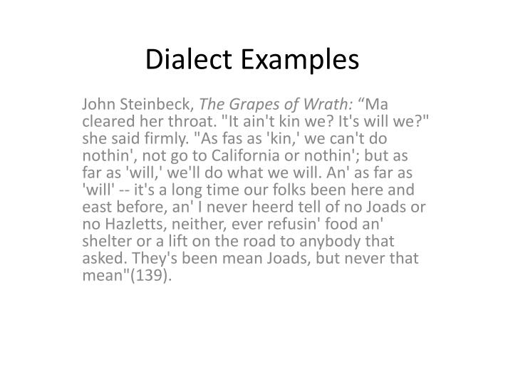 Ppt Dialect Examples Powerpoint Presentation Id2929351