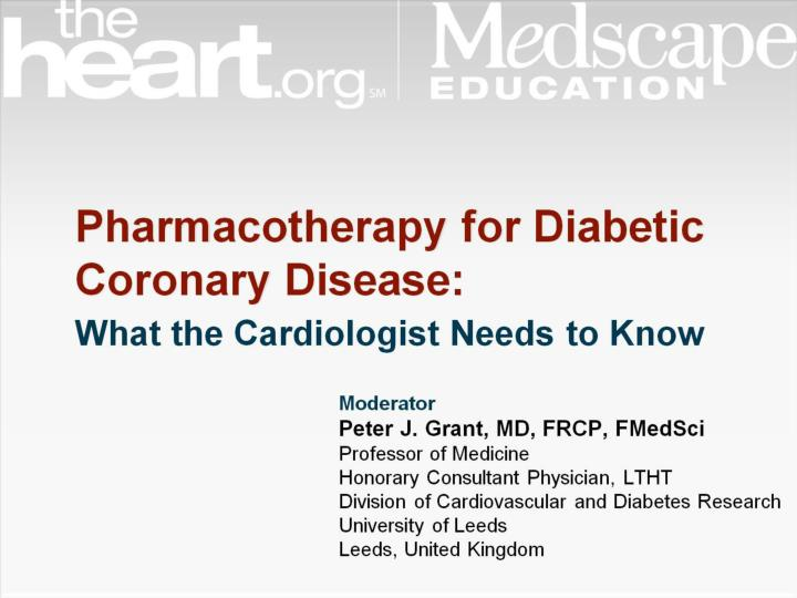 Pharmacotherapy for diabetic coronary disease