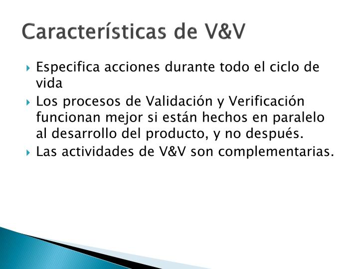 Características de V&V