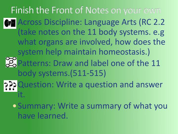 Finish the Front of Notes on your own