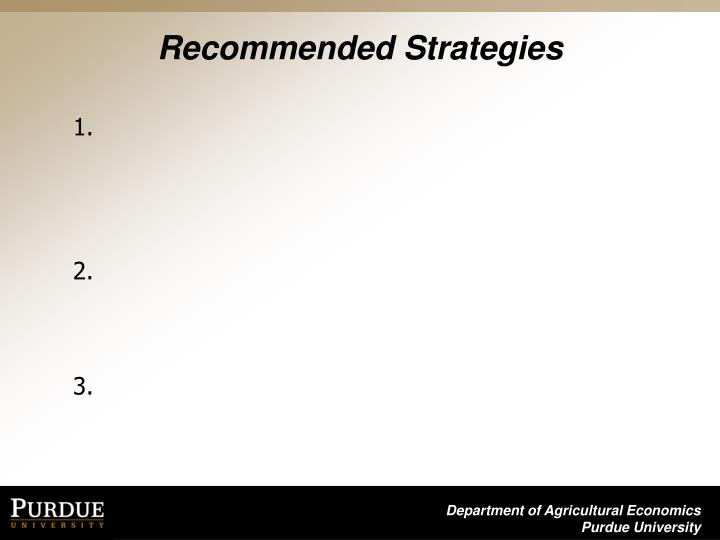 Recommended Strategies