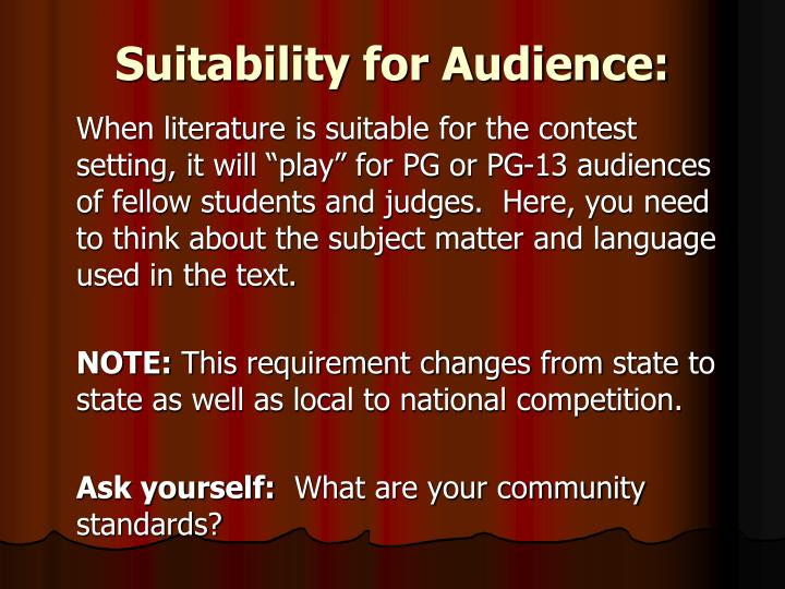 Suitability for Audience: