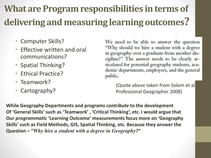 What are Program responsibilities in terms of delivering and measuring learning outcomes