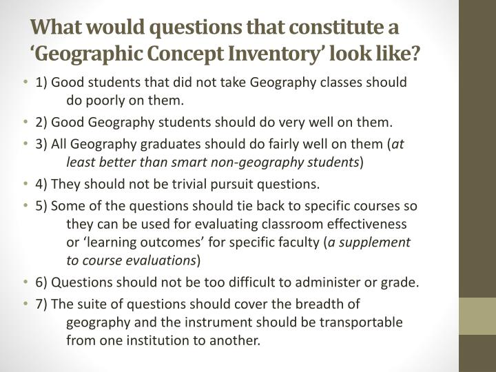 What would questions that constitute a 'Geographic Concept Inventory' look like?