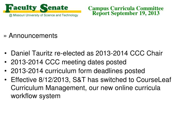 campus curricula committee report september 19 2013 n.