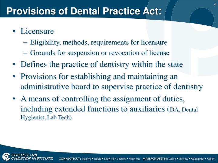Provisions of Dental Practice Act