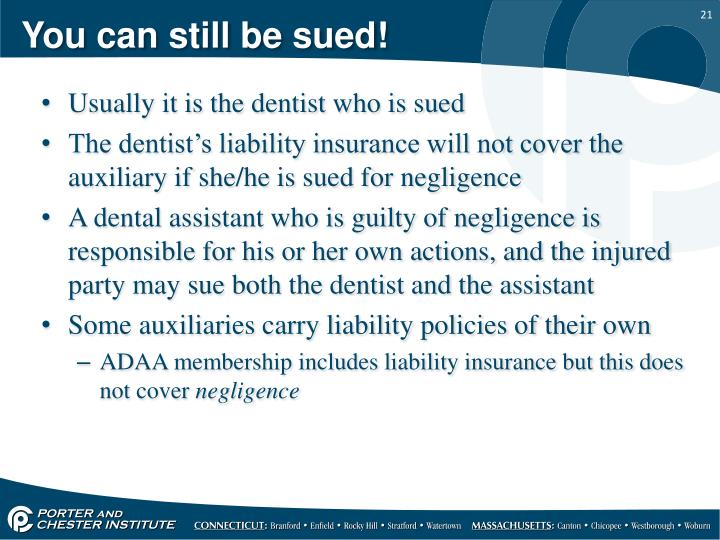 You can still be sued!