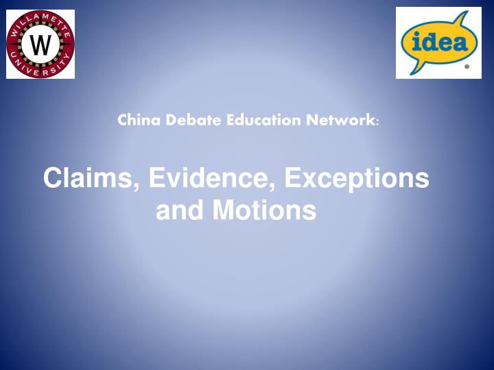 claims evidence exceptions and motions n.