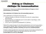utdrag ur chalmers riktlinjer f r kommunikation
