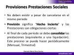 provisiones prestaciones sociales