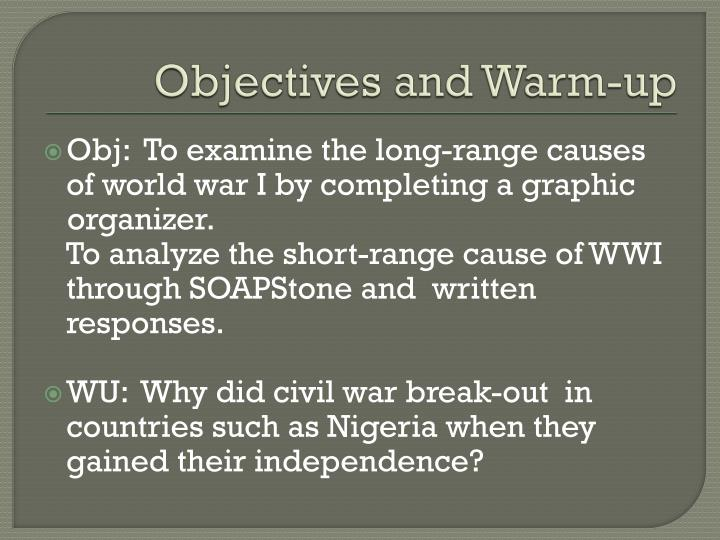 objectives and warm up n.