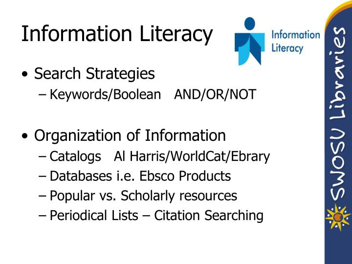 week2information literacy What is information literacy (il) are you information literate why is it important information resources 2011-12 1 ace1742: information resources week 2: information literacy verity brack institute for lifelong learning university of sheffield 1 2011-12 2 information literacy what is.