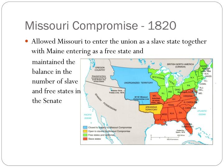 failure to compromise 1820 1860 The missouri compromise was made between southern pro-slavery states and northern anti-slavery states in order to keep the opposing states evenly numbered the compromise helped keep balance between the two sides passed in 1820, the missouri compromise was made between pro-slavery and anti-slavery.