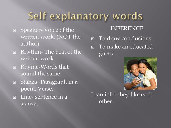 Self explanatory words