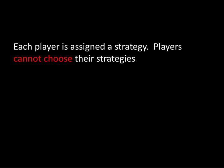 Each player is assigned a strategy.  Players