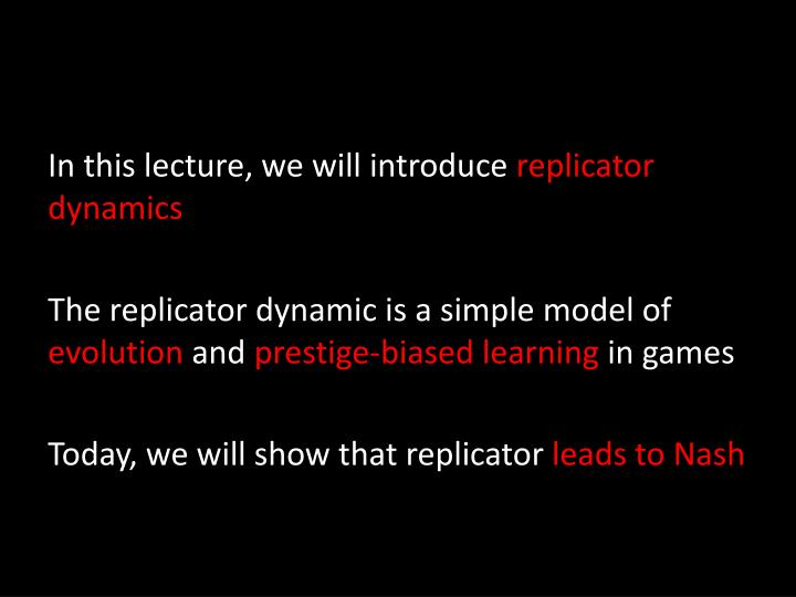 In this lecture, we will introduce