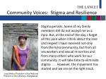 community voices stigma and resilience