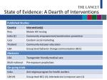 state of evidence a dearth of interventions