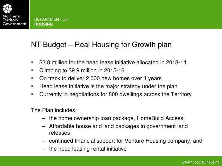 NT Budget – Real Housing for Growth plan