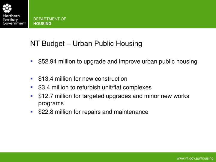 NT Budget – Urban Public Housing