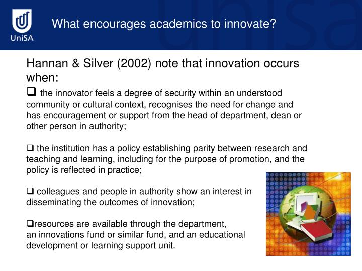 What encourages academics to innovate?