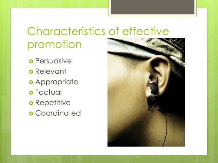 Characteristics of effective promotion