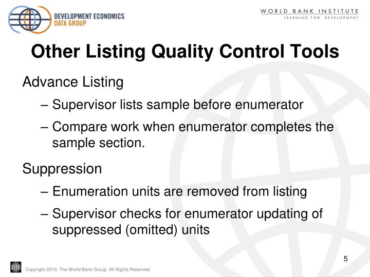 Other Listing Quality Control Tools