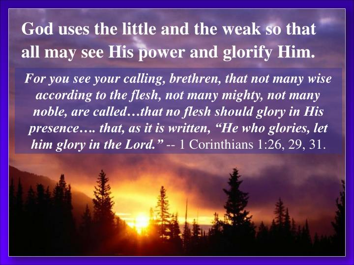God uses the little and the weak so that all may see His power and glorify Him.