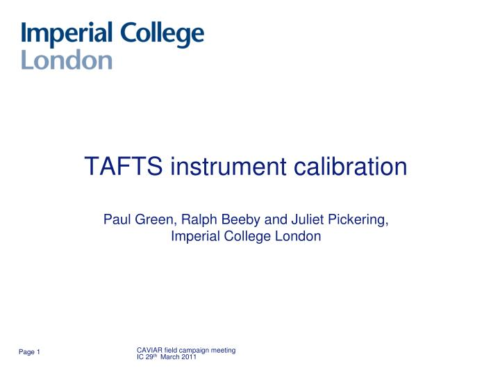 Tafts instrument calibration paul green ralph beeby and juliet pickering imperial college london