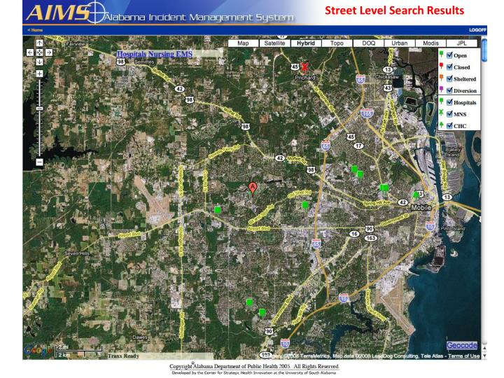 Street Level Search Results