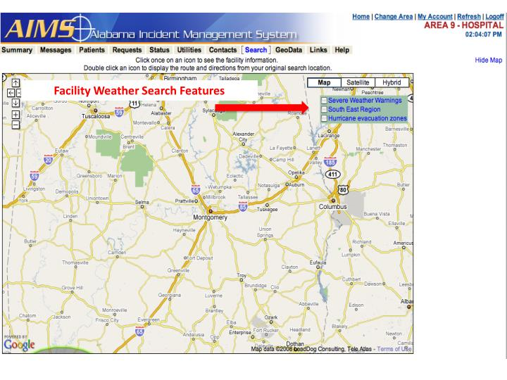 Facility Weather Search Features