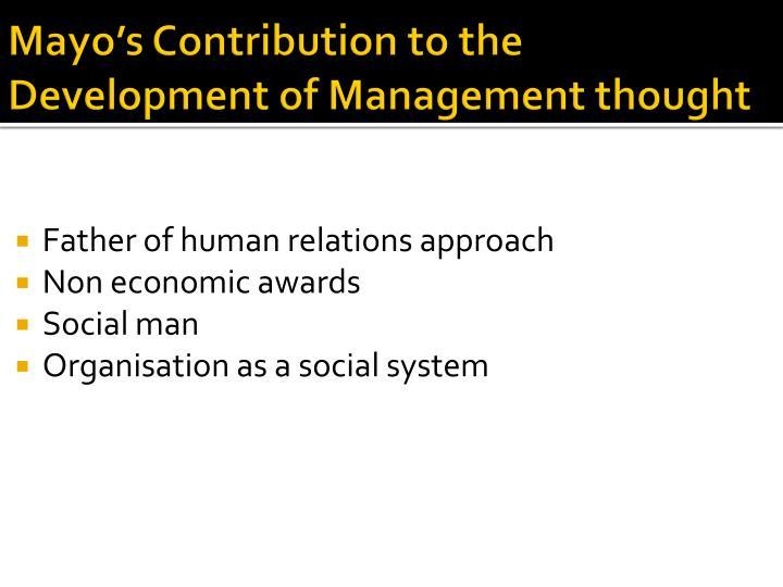 elton mayo contribution to management