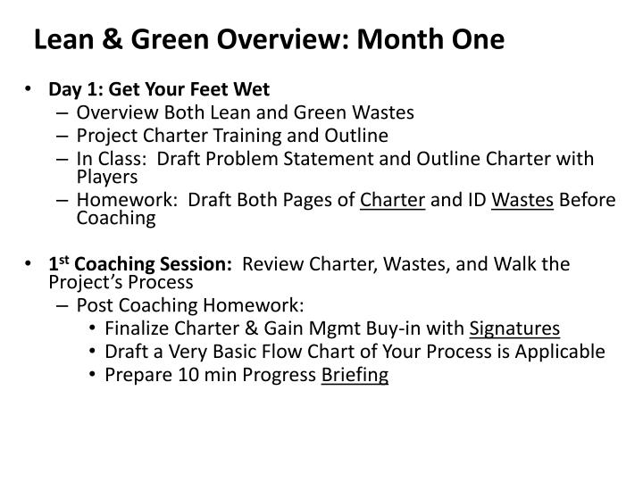 lean green overview month one