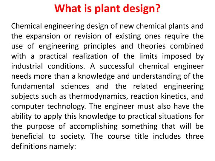 what is plant design n.