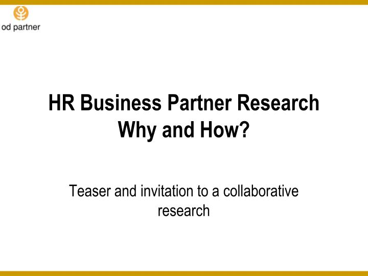 hr business partner research why and how n.