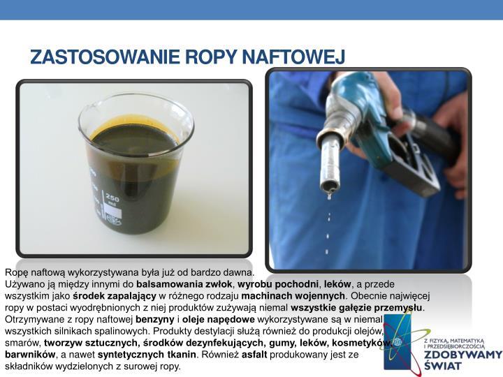 Zastosowanie ropy naftowej