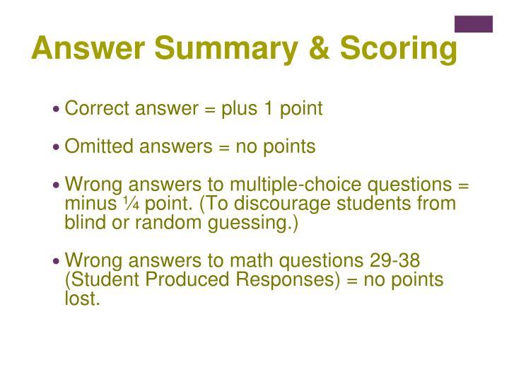 Answer Summary & Scoring